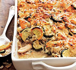 Zucchini and Rice Casserole with Yellow Squash